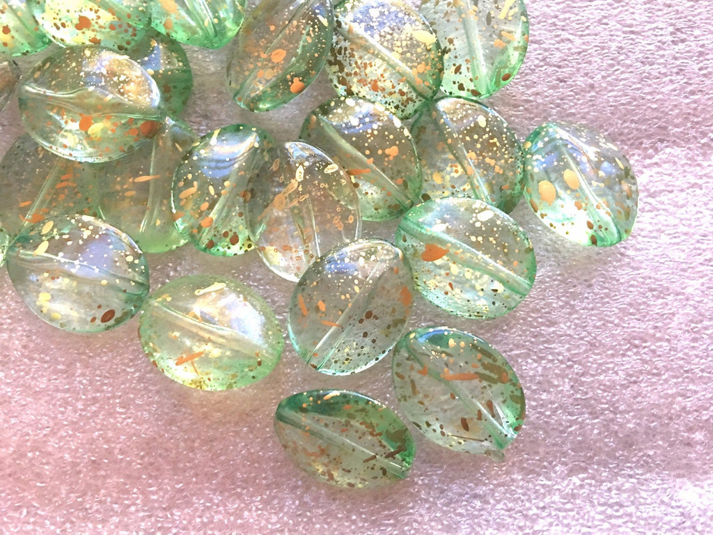 Large oval 24mm green & Gold Painted acrylic beads, chunky jewels craft supplies round beads, moss grass beads gem jewelry earrings