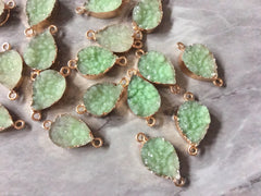 Mint Green teardrop Druzy Beads with 2 Holes, Faux Druzy Connector Beads, gold druzy, druzy bracelet bangle bracelet jewelry