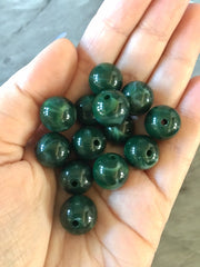 Forest Green 14mm round beads, gumball beads, bubblegum beads, chunky beads necklace jewelry, chunky necklace circle girls