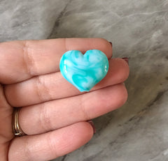 Turquoise & White Large HEART Beads, 20mm nugget bead, blue jewelry, bangle beads bracelet Valentine's Day love anniversary February