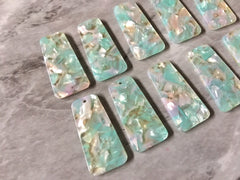 Mint Green & Blush Pink HOLOGRAM resin Tortoise Shell resin Acrylic Blanks Cutout, earring pendant jewelry making 38mm 1 Hole earring blanks