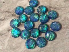 Navy blue Green HOLOGRAM confetti Resin 12mm Druzy Cabochons, jewelry making kit earring set, diy jewelry druzy studs, 12mm stud earrings