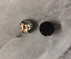 Black Gold Foil confetti Resin 12mm Druzy Cabochons, jewelry making kit earring set, diy jewelry, druzy studs, 12mm Druzy stud earrings