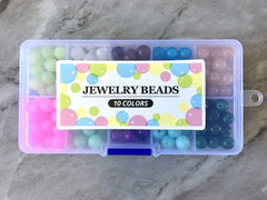 Jewel Tones Bead Kit, 10 color glass bead set, 8mm jelly beads, bead organizer, bead box, bangle beads, jewelry making, rainbow beads