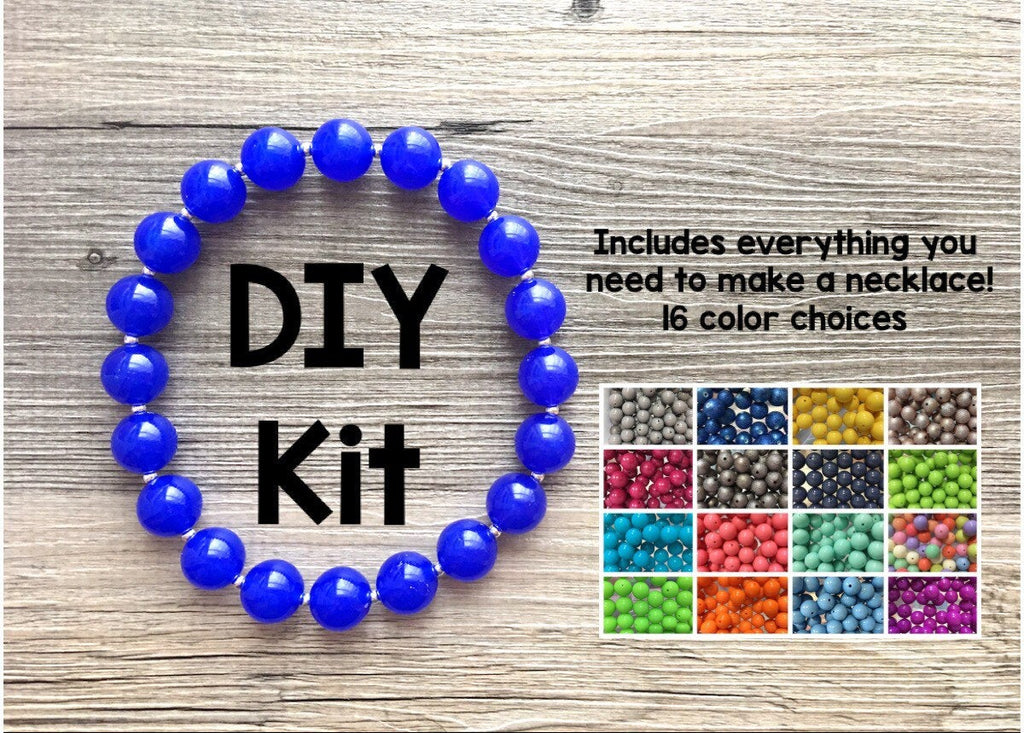 DIY Jewelry Beaded Kit, jewelry making bubblegum bead necklace kit for girls or women, colorful rainbow ball beads circular
