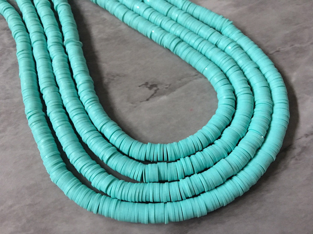 "Mint Green 6mm WHOLESALE rubber disc beads, 16"" strand heishi beads, colorful round polymer beads, colorful pride clearance beads"