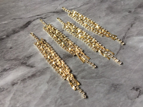 Gold & Diamond Rhinestone Crystal Rhinestone Pendants, 90mm chain necklace charm, crystal statement chandelier earrings