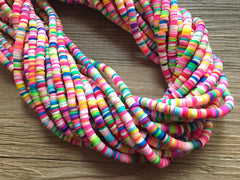 "Rainbow 4mm WHOLESALE rubber disc beads, 16"" strand heishi beads, colorful round polymer beads, colorful pride clearance beads, donut beads"