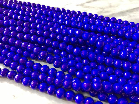 "32"" strand Royal Blue Glass 8mm Beads, geometric acrylic beads, bracelet necklace earrings, jewelry making, acrylic bangle beads round"