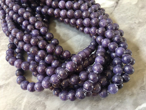 "15"" Grape Soda Glass 8mm Beads, geometric acrylic beads, bracelet necklace earrings, jewelry making, acrylic bangle jade round purple"