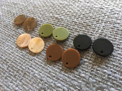 SALE! 5 Fall Colors Earring Blanks, Acrylic Jewelry Making Bead, 13mm black brown olive green champagne earrings jewelry