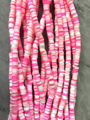 "Pink Ombré 4mm WHOLESALE rubber disc beads, 16"" strand heishi beads, colorful round polymer beads, colorful pride clearance donut beads"