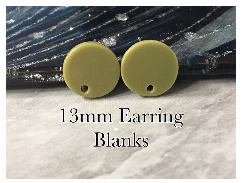 Olive Green 13mm post earring blanks, brown drop earring, gold stud earring, gold jewelry, acrylic dangle DIY earring making round