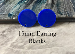 15mm royal blue post earring blanks drop earring, stud earring jewelry dangle DIY earring making round resin, dark blue earrings