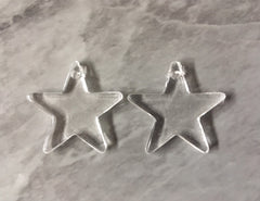 Clear Acrylic Star Resin Beads, star shape acrylic 23mm Earring Necklace pendant bead 1 one hole at top, star jewelry