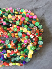 "Rainbow 10mm WHOLESALE rubber Fruit beads, 14"" strand heishi beads, colorful polymer beads, rainbow vegetarian clearance beads"