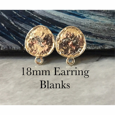18mm Gold Parachute post earring circle blanks, gold drop earring, gold stud earring, gold jewelry, gold round dangle DIY earring making