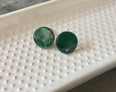 12mm Hunter Green post earring blanks drop earring, stud earring jewelry dangle DIY earring making round resin, dark green earrings