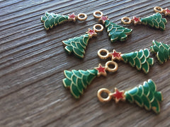 Christmas Tree Charms 20mm, Wire Bangle Beads, Christmas Jewelry, Bubblegum Bead Necklace, Christmas jewelry evergreen tree
