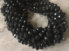 "Black 8mm WHOLESALE 15"" strand crystal beads, colorful round glass beads, clearance beads donut stretch bracelet beads"