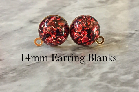Red & Gold 14mm post earring circle blanks, gold drop earring, gold stud earring, gold jewelry, gold dangle DIY earring making metallic