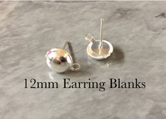 12mm Smooth Silver post earring circle blanks, silver round earring, silver stud earring, silver jewelry, silver dangle earring making