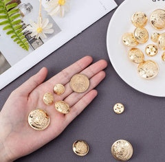WHOLESALE 50 pieces Metal Blazer Button Set Emblem Crest Vintage Shank Buttons Jewelry Earrings bracelet necklace clearance, suit
