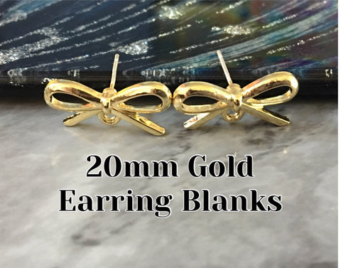 Bow Tie 20mm post earring blanks, gold drop earring, gold stud earring, gold jewelry, gold dangle DIY earring making hair bow love knot