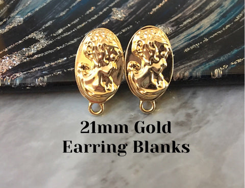 Textured 21mm Gold post earring oval blanks, gold round earring, gold stud earring, gold jewelry, gold dangle earring making brushed