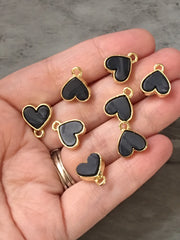 15mm Black heart post earring blanks, gold drop earring, gold stud earring, gold jewelry, gold dangle DIY earring making Valentine's Day