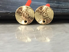 11mm Hammered Gold post earring circle blanks, gold round earring, gold stud earring, gold jewelry, gold dangle earring making
