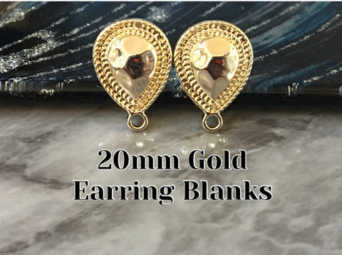 20mm Gold Teardrop post earring blanks, gold drop earring, gold stud earring, gold jewelry, gold dangle DIY earring making Statement