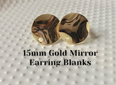 Gold mirror 15mm post earring circle blanks, gold drop earring, gold stud earring, gold jewelry, gold dangle DIY earring making metallic