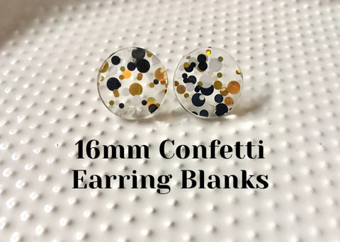 Black + White LA Party 16mm confetti circle post earring circle blanks, gold drop earring stud earring, jewelry dangle DIY earring making