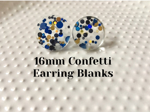 Black + Blue VIP Party 16mm confetti circle post earring circle blanks, gold drop earring stud earring, jewelry dangle DIY making