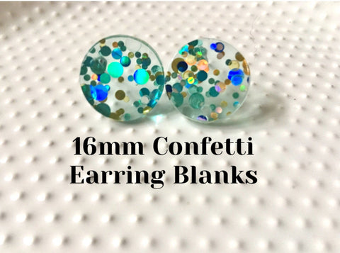 Mint + Blue Shoreline Party 16mm confetti circle post earring circle blanks, gold drop earring stud earring, jewelry dangle DIY making