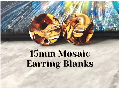 Red + yellow mosaic Clear 15mm confetti circle post earring circle blanks, drop earring stud earring, jewelry dangle DIY earring making