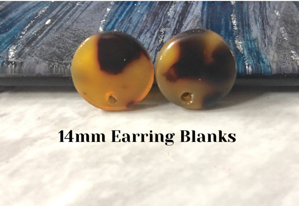 Black + Brown Tortoise Shell 14mm confetti circle post earring blanks, drop earring stud earring, jewelry dangle DIY earring making