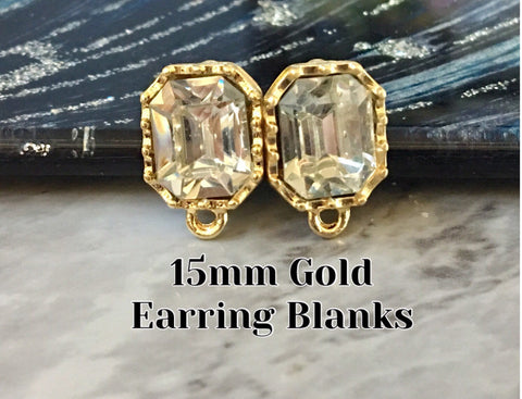 15mm Rhinestone OCTAGON post earring blanks, gold drop earring, gold stud earring, gold jewelry, gold dangle DIY earring making round