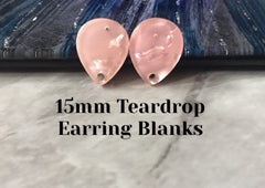 Blush Pink Crinkle 15mm hologram teardrop post earring circle blanks, drop earring stud earring, jewelry dangle DIY earring making