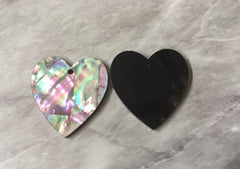 Abalone Shell Heart Pink & Gray Acrylic Blanks Cutout, earring pendant jewelry making, 30mm jewelry, 1 Hole earring blanks, geode agate