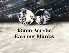 Black + White mosaic 13mm confetti circle post earring blanks, drop earring stud earring, jewelry dangle DIY earring making