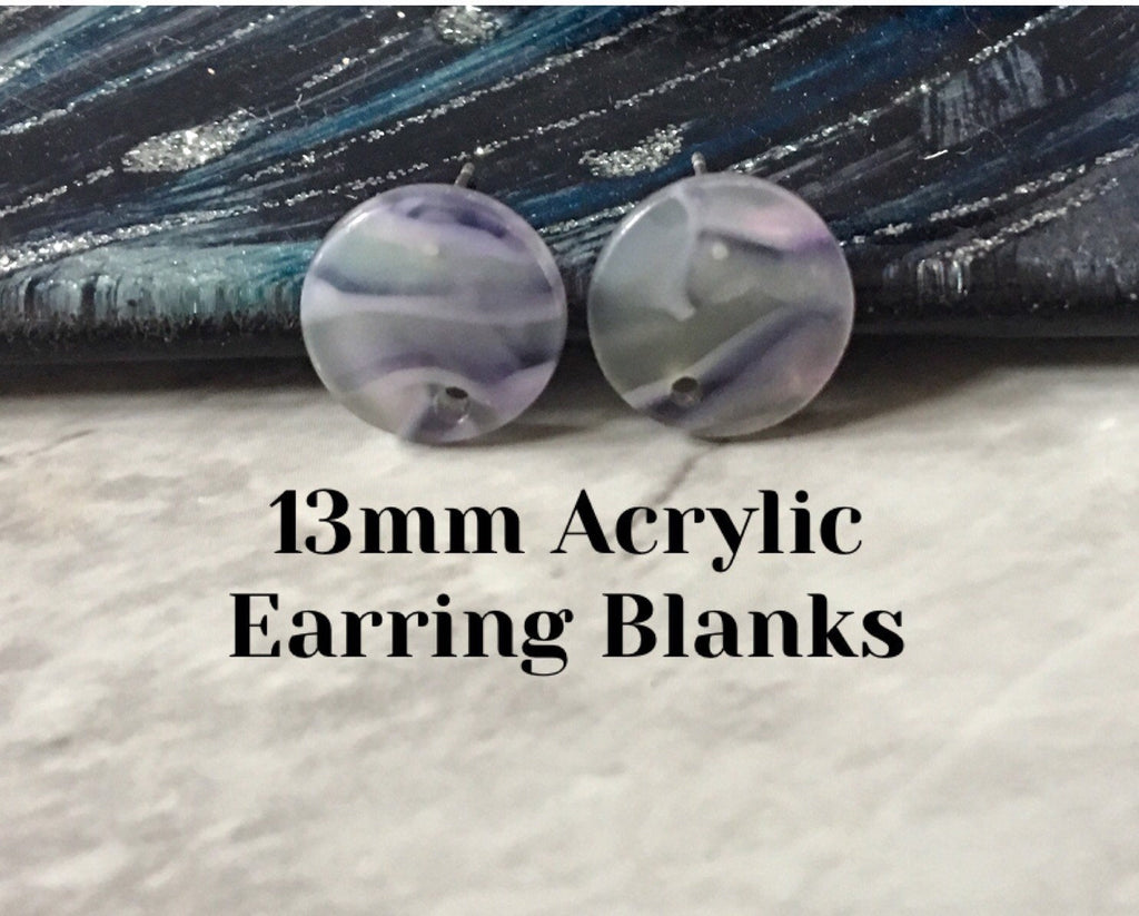 Blue Gray mosaic 13mm confetti circle post earring blanks, drop earring stud earring, jewelry dangle DIY earring making