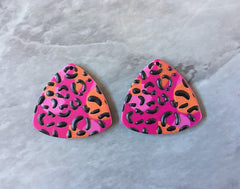 3D Printed colorful leopard print Beads, rainbow cutout acrylic 24mm Earring Necklace pendant bead, one hole at top DIY blanks animal print