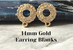 14mm gold rhinestone wreath post earring blanks, gold drop earring, gold stud earring, gold jewelry, gold dangle DIY earring making round