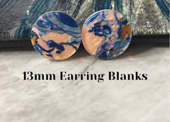13mm Mosaic round post earring circle blanks drop stud earring, silver dangle DIY earring mod making round earrings Blue gold pink
