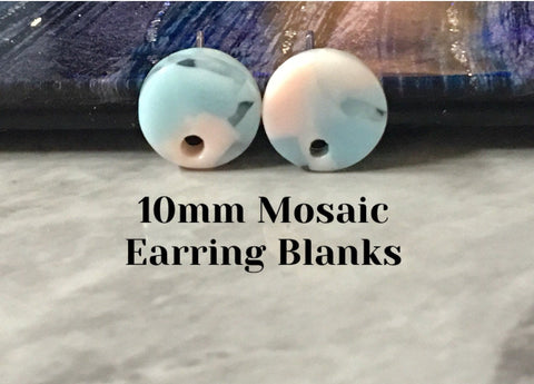 Cotton Candy pink & blue mosaic 10mm confetti circle post earring blanks, drop earring stud earring, jewelry dangle DIY earring making