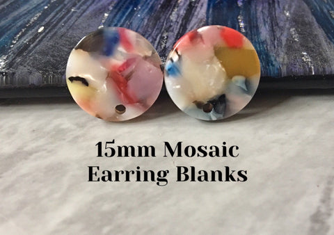 Rainbow mosaic Clear 15mm confetti circle post earring circle blanks, drop earring stud earring, jewelry dangle DIY earring making