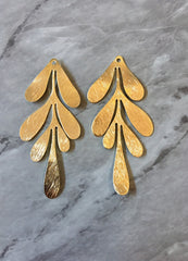 18 Karat Gold Plated Large flower pendants, brass leaves flutter, Statement earring bottom jewelry long necklace bead floral