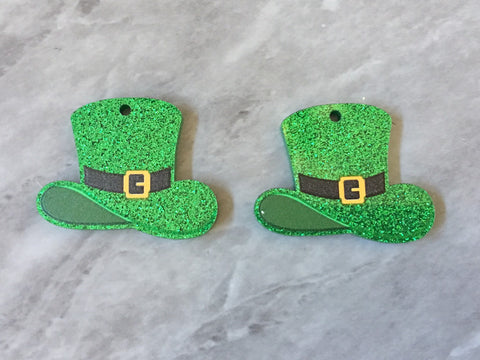 3D Printed Green Glitter Beads, rainbow cutout acrylic 35mm St Patricks Day one hole at top DIY blanks, Leprechaun Hat clover
